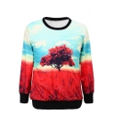 Tree Print Round Neck Long Sleeve Sweatshirt