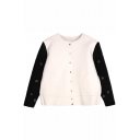 Color Block and Letter Print Cropped Coat with Button Fly and Perforated Sleeve