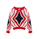 Geometrical Pattern Round Neck Long Sleeve Sweater