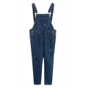Dark Blue Laid Back Pockets Braces jeans