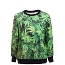 Leaves Print Round Neck Long Sleeve Sweatshirt