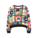 Cartoon Animal Print Long Sleeve Round Neck Loose Sweatshirt