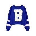 Letter B Pattern Round Neck Fluffy Sleeve Crop Sweatshirt