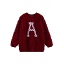 Letter A Pattern Round Neck Fluffy Long Sleeve Sweater