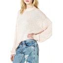Plain Open-Knit Drop Sleeve Sweater in Loose Fit