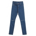 Plain Busted Knees Fitted Pockets Pencil Jeans