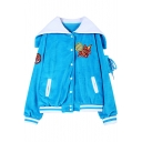 Loose Cartoon Applique Plush Varsity Jacket with Navy Collar