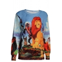 The Lion King Print Round Neck Long Sleeve Sweatshirt