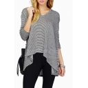 Cozy Stripe Bat Sleeve Hooded V-Neck  Sweater