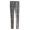 Plaid Pattern Skinny Pants with Elastic Waist