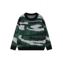 Camouflage Print Round Neck Long Sleeve Sweater