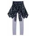 Plaid Print Zipper Elastic Waist Cotton Leggings