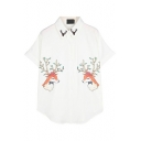 White Deer Print Curved Hem Short Sleeve Blouse