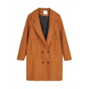 Plain Notched Lapel Longline Wool Coat with Double-breasted and Double-Pockets
