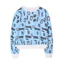 Harajuku Long Sleeve Round Neck Crop Sweatshirt in Loose Fit