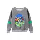 The Beatles Print Long Sleeve Round Neck Sweatshirt