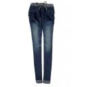 Dark Wash Drawstring Elastic Waist Skinny Jeans
