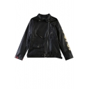 Black Lucky and Poker Embroidered Biker Jacket with Zipper and Pocket Front