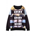 Sunglasses Print Round Neck Long Sleeve Sweatshirt