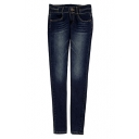 Plain Dark Wash Pocket Mid Rise Pencil Jeans