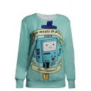 Cartoon Pattern Print Round Neck Long Sleeve Sweatshirt