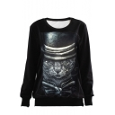 Cartoon Solemn Cat Round Neck Long Sleeve Sweatshirt