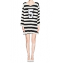 Cozy Stripe Number 5 Print Dress with Wide Sleeve