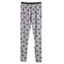 Flying Bird Letter Print Fitted Elastic Waist Pants