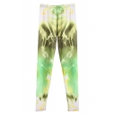 Lightning Print Elastic Waist Full Length Pants