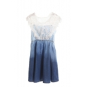 Lace insert Gathered Waist Denim Sundress