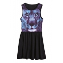 Punk Animal Print Gathered Waist Tank Dress