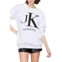Boyfriend Letter Print Tunic Sweatshirt with Round Neck
