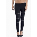 Fitted Elastic Waist Pencil Leggings with Zipper Detail