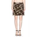 Camouflage Pattern Elastic Waist Midi Tube Skirt