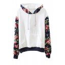 Flora Print Contract Hem Belt Pocket Detail Hoodie