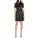 Leather Fit & Flare Short Sleeve Dress with Zipper Back