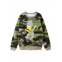 Camouflage Cartoon Print Round Neck Long Sweatshirt Sweatshirt