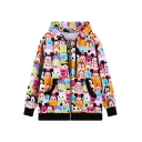 Cartoon Digital Printing Hooded Coat with Double Slant Pockets Front