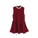 Plain Round Neck Sleeveless Belted Mini Dress