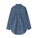 Plaid Point Collar Long Sleeve Shirt with Dip Hem