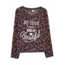 Letter and Floral Print Round Neck Long Sleeve Tee