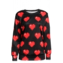 Heart Pattern Round Neck Long Sleeve Sweatshirt