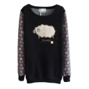 Embroidered Sheep Pattern Round Neck Sweatshirt