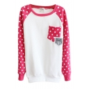Round Neck Sweatshirt with Polka Dot Sleeve and Pocket