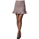 Heart Print Ruffle Hem Pencil Skirt with Midi Waist