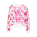 Letter and Doughnut Print Round Neck Long Sleeve Sweatshirt