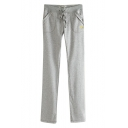 Drawstring Waist Mid Waist Cotton Straight Pants