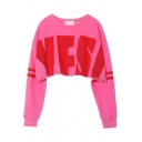 Letter Yes Print Round Neck Long Sleeve Crop Sweatshirt