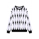 Black Lightning Print Long Sleeve Loose Sweatshirt with Round Neck
