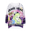 Brave Heart Cartoon Print Round Neck Long Sleeve Sweatshirt